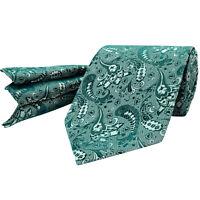 Teal Cyan Green Tie Silk Floral Paisley Pocket Square Hanky Wedding
