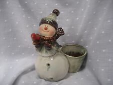 "ceramic snowman with basket for candy candle holding red bird 6.5"" tall"