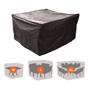 GARDEN FURNITURE PROTECTIVE COVER SQUARE RATTAN TABLE CHAIR WEATHERPROOF BLACK