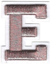 "2"" x 2 1/2"" Metallic Silver Pink White Felt 3D Raised Letter E Patch"