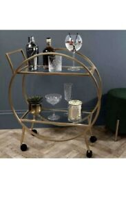 New Home Collections Round Gold Effect 2 Tier Round Drinks Trolley Home Bar