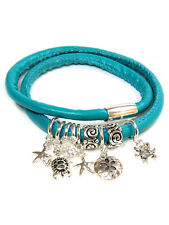 ICON Turquoise Blue WRAP Silver Sea Life Charm Turtle Starfish Bracelet NWT New