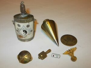 Vintage Brass Plumb Bob Snuff Opium Bottle Brass Chicken Ranch Token Metal Pins