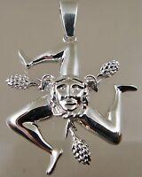 Sicilian Trinacria pendant Jewelry Solid.925 sterling silver 30MM