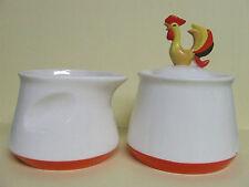 Vintage Holt Howard Thumbprint Creamer & Sugar Bowl w/Rooster (1961)