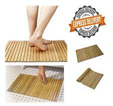 Bamboo Wood Slatted Duck Board Rectangular Bathroom Shower Mat Foldable 50x80 cm