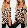 Womens Leopard Print Off Shoulder Blouse Spaghetti Strap T-shirt Tops Size 8-16