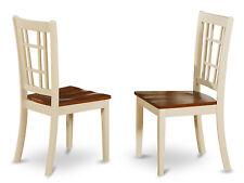 Set of 2 Nicoli kitchen dining chairs w/ plain wood seat, buttermilk & cherry