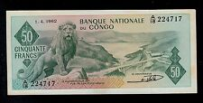 CONGO DEMOCRATIC REPUBLIC  50 FRANCS 1962  PICK # 5 AU.