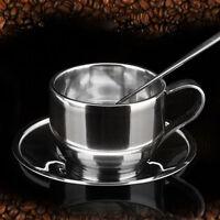 Robuste Kaffeetasse Untertasse Löffel Set Edelstahl Doppelwandige Kaffeetasse