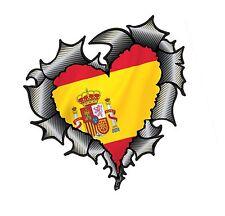 Forma a cuore in fibra di carbonio fibra Strappato Metallo & Spagna spagnolo Bandiera Auto Adesivo