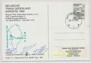 LN21726 Greenland 1990 signed by team antarctic mail postcard used