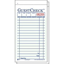 Guest Check Pad, 3-1/2 x 6-3/4, Two-Part Carbonless, 50 Checks/Book 50/Books