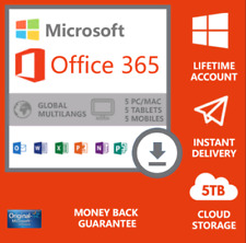 MICROSOFT®OFFICE 365 LIFETIME Account for 5 DEVICES - Android , PC and Mac 5TB