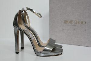 New sz 9 / 39 Jimmy Choo Misty Silver Patent Leather Platform Ankle Sandals Shoe