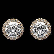2.00CT Brilliant Created Diamond Halo Stud Earrings 14k Yellow Gold Round Cut