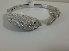 JUDITH RIPKA STERLING ZODIAC PISCES LONDON BLUE TOPAZ CUFF BRACELET NEW SMALL S