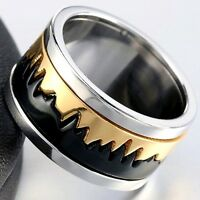 Gold And Black Stainless Steel Ring With Rotating Centre Unisex Sizes N To Z+1