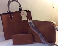 Women's NEW Brown Faux Leather Handbag 3 Piece Tote Crossbody Purse Wallet
