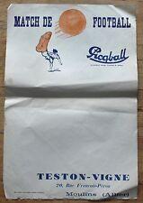 RARE FOOTBALL 1940-1944 AFFICHE VIERGE BALLONS PICQBALL CRISTOR TESTON-VIGNE