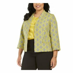 Kasper Size 14W Yellow Black Printed Jacquard Blazer Jacket Hook & Eye NWT