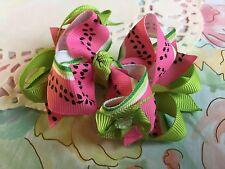 Adorable Pink Spring Watermelon Flower Hair Bow Grosgrain Ribbon Handmade New
