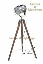 Wooden Tripod Spotlight Floor Lamp Lighting And Ceiling Fans Lamp