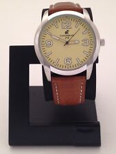CARIBBEAN JOE MENS STAINLESS STEEL WATCH WITH BROWN LEATHER BAND CJ7051SL