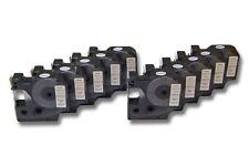 10x Cassette de cinta 12mm N/B para Dymo D1, 45013