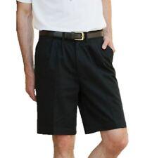 Henbury Mens Gents Teflon Coated Cotton Pleated Chino Shorts - Black Navy Stone