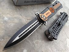 "8.5"" EMS EMT SPRING ASSISTED TACTICAL DAGGER STYLE FOLDING POCKET KNIFE OPEN"
