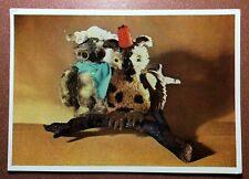 Soviet postcard 1966 Toys USSR. Soft toy Pair of owls on the branch * OWL