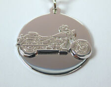 Sterling Silver Harley Davidson Charm on Stainless Steel Key Ring Free Shipping