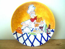 """Chef Italian French Ceramic Serving Pasta Bowl 11"""" Wide Red White B4"""