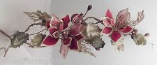 "BEAUTIFUL RED VELVET & SHEER  GOLD POINSETTIA~36"" XMAS GARLAND/ SPRAY*VERY FANCY"