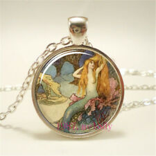 New Charm Vintage Cabochon Glass Necklace Silver pendants(mermaid jewelry
