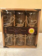 Clear Glass Jar Light Decor With 3 LED Lights- Set of 6