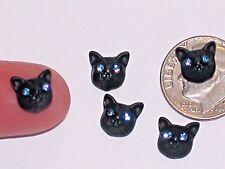 6pc Miniature tiny little Crystal blue eye Kitty Black Cat charm Halloween 8mm