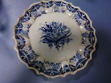 Ceramica italiana piatto decoro a mano floreale blu maiolica Italy