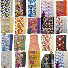 Indian-Handmade Cotton Kantha-Blanket Quilt Throw Twin-Ethnic Flower Bed-Cover