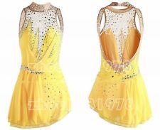 Figure Skating Dress Women's Girls' Ice Skating Dress Spandex Handmade yellow