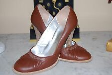 CYNTHIA VINCENT ITALY BROWN LEATHER HIGH HEEL WOMEN'S PUMP SHOES SIZE EU 37