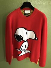 272b41e21cd 100% Authentic Gucci Peanuts Snoopy Tiger Stripes Red Wool Sweater