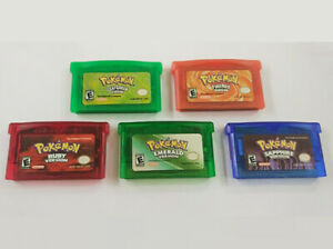 5 Pcs Pokemon Emerald Ruby Sapphire FireRed Leaf Green for GBA