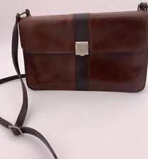 Mark Cross Satchel Brown Leather Handbag Purse Adjustable Strap