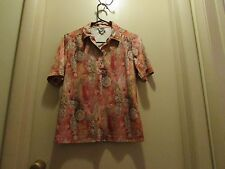 Nikki Floral Print Pull Over Top Blouse Shirt Polyester Short Sleeved Size 8