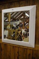 Spiegel Holz Bali 90x90cm Weiß Handmade Quadratisch