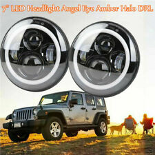 "2x 7"" Inch LED Headlight Angel Eye Amber Halo DRL For Jeep Wrangler JK TJ LJ"