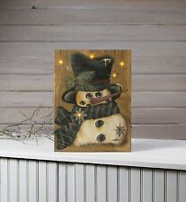 Country Snowman with Snowflakes Lighted Pictures x47391 NEW