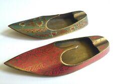 Vtg Mid Century India Brass Incised Enamel Shoes Incense Burner Ashtrays 2Pc Set